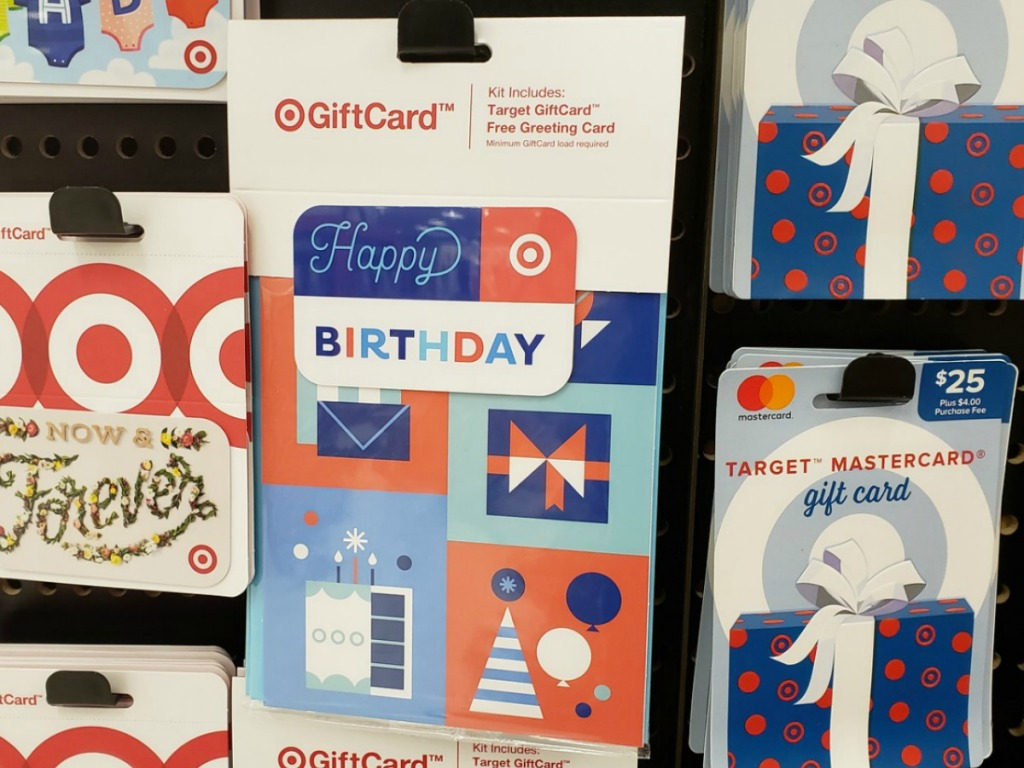 Birthday themed gift card on shelf in Target