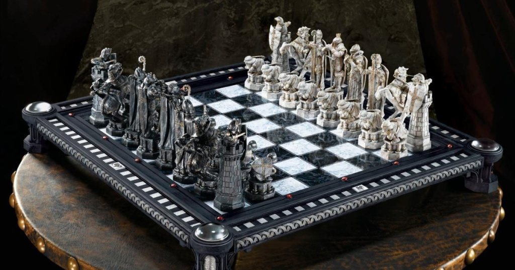 harry potter chess set on table