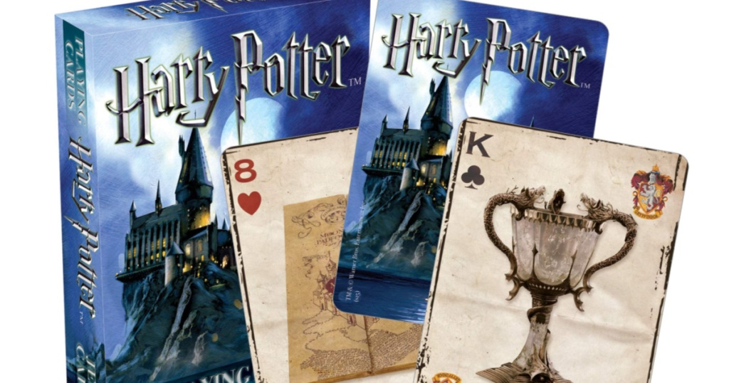 Harry Potter Playing Cards Box with playing cards in front