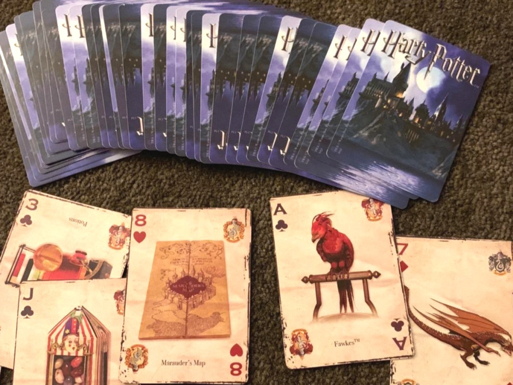 harry potter playing cards open laying on the floor