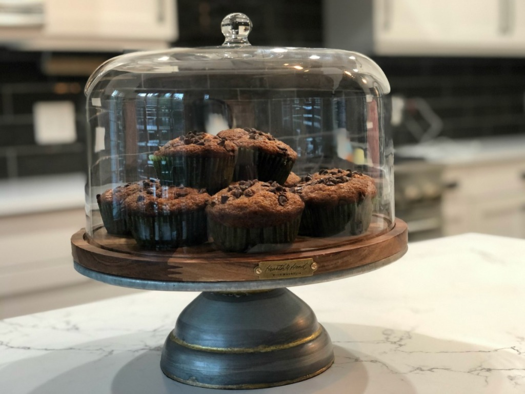 rustic cake stand on kitchen counter