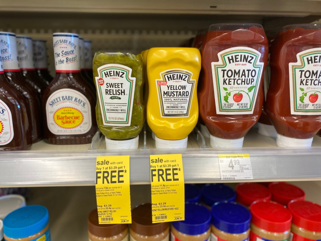 Heinz sweet relish and mustard on store shelf