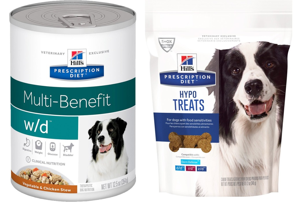 can of Hill's Prescription diet dog food and bag of dog treats