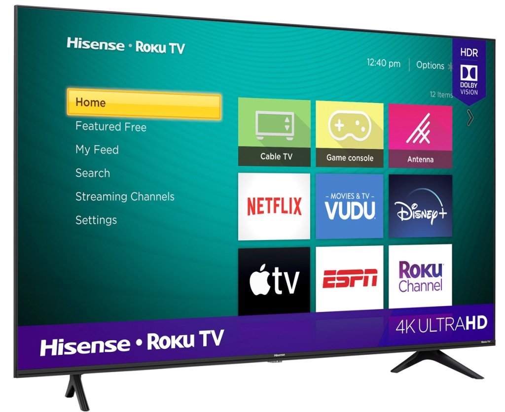 tv with roku streaming and apps displayed on screen