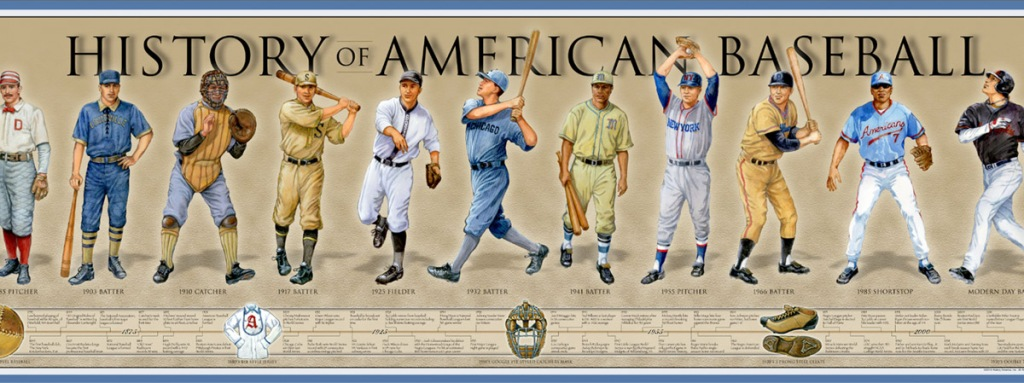timeline history of american baseball poster
