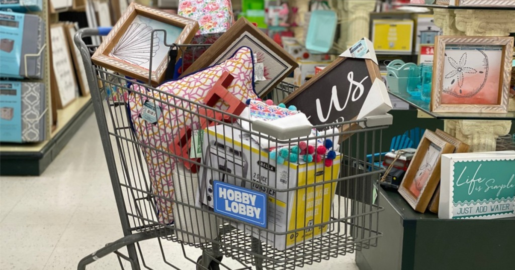 home items in shopping cart in store