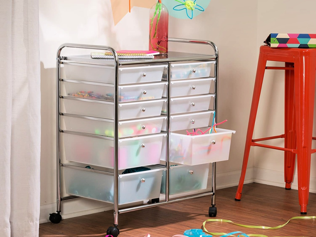 Honey-Can-Do Rolling Storage Cart and Organizer with arts and supplies