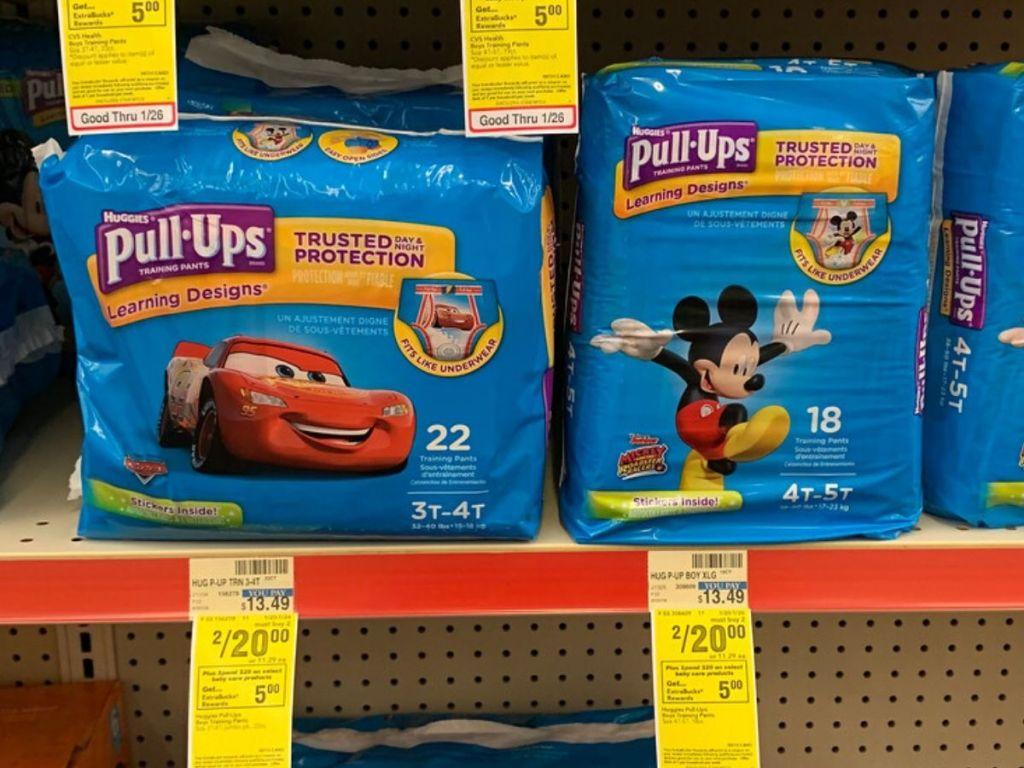 Huggies Pullups on store shelf