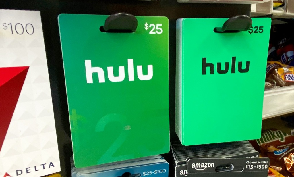 gift card display rack with green hulu gift cards