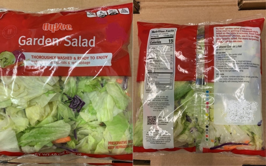 front and back of bagged salad