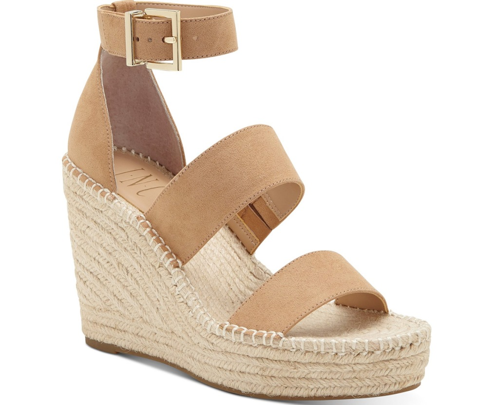 tan wedge sandals with braided wedge and gold buckle on ankle strap