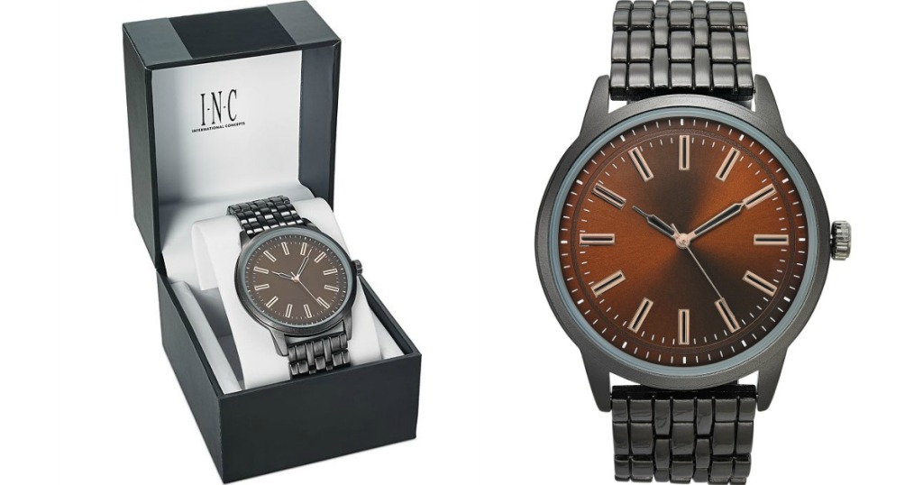 watch in a box next to a watch