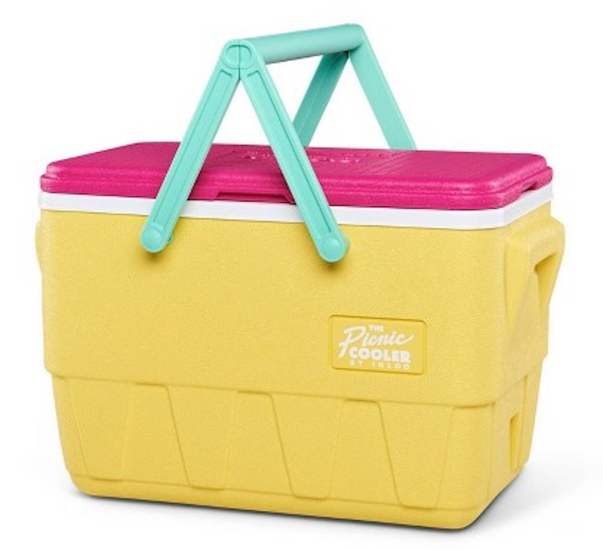 yellow, teal, and pink Igloo Retro Picnic Basket Cooler