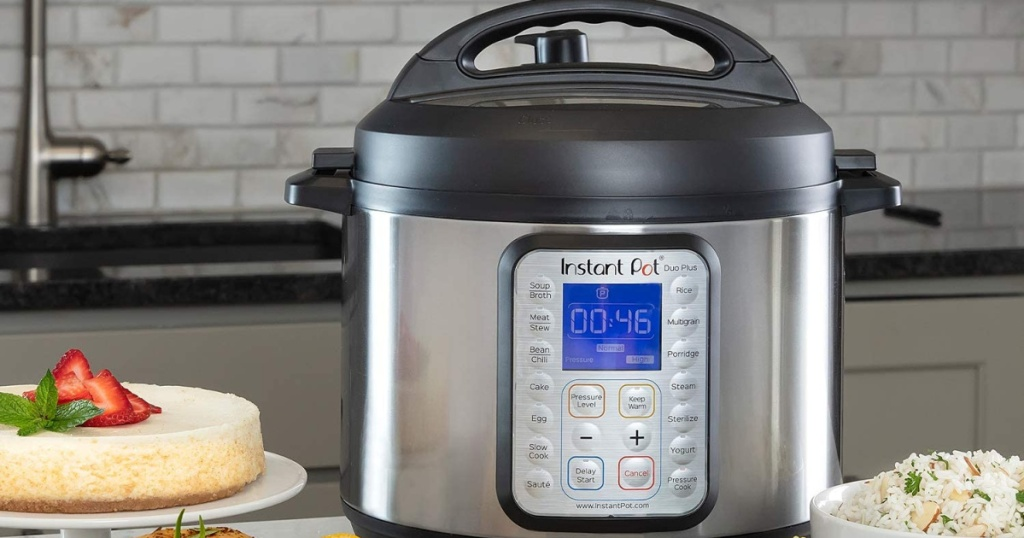 Instant Pot Duo Plus 60 9-in-1 on counter in kitchen