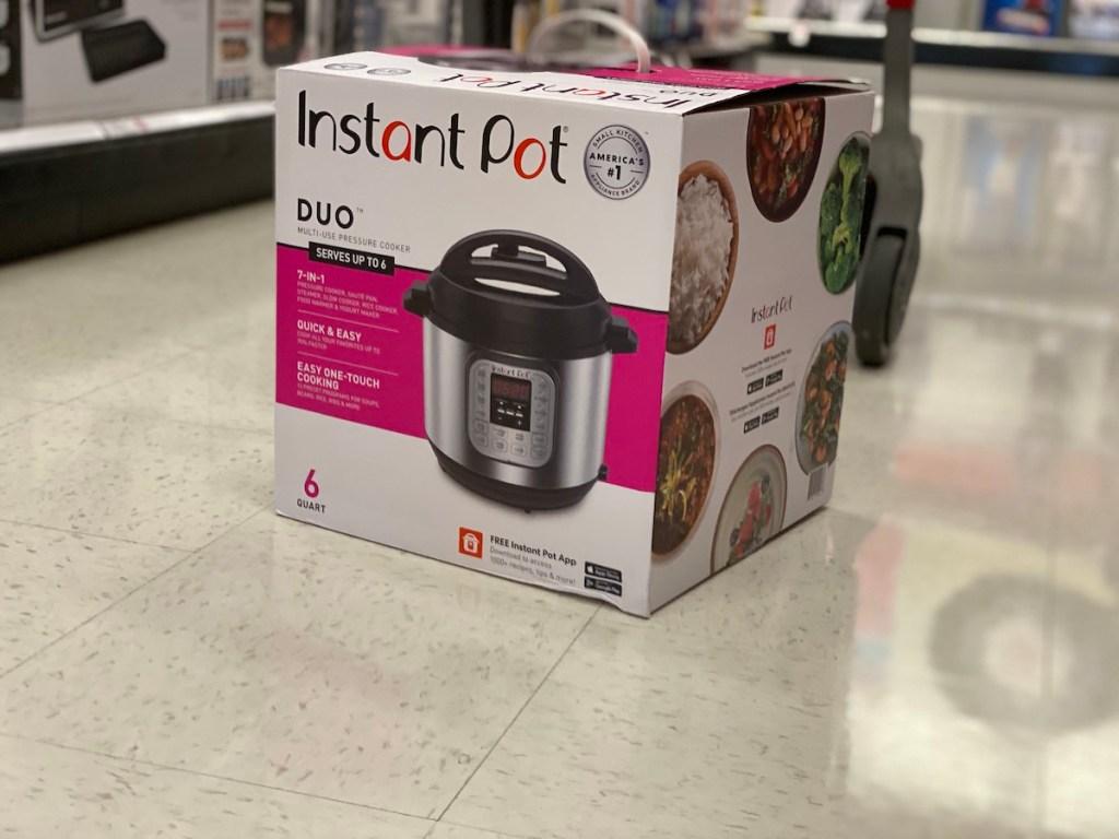 box of Instant Pot Duo Target on floor