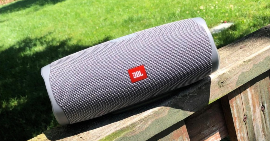 JBL Charge 4 Portable Bluetooth Speaker (Gray) on deck