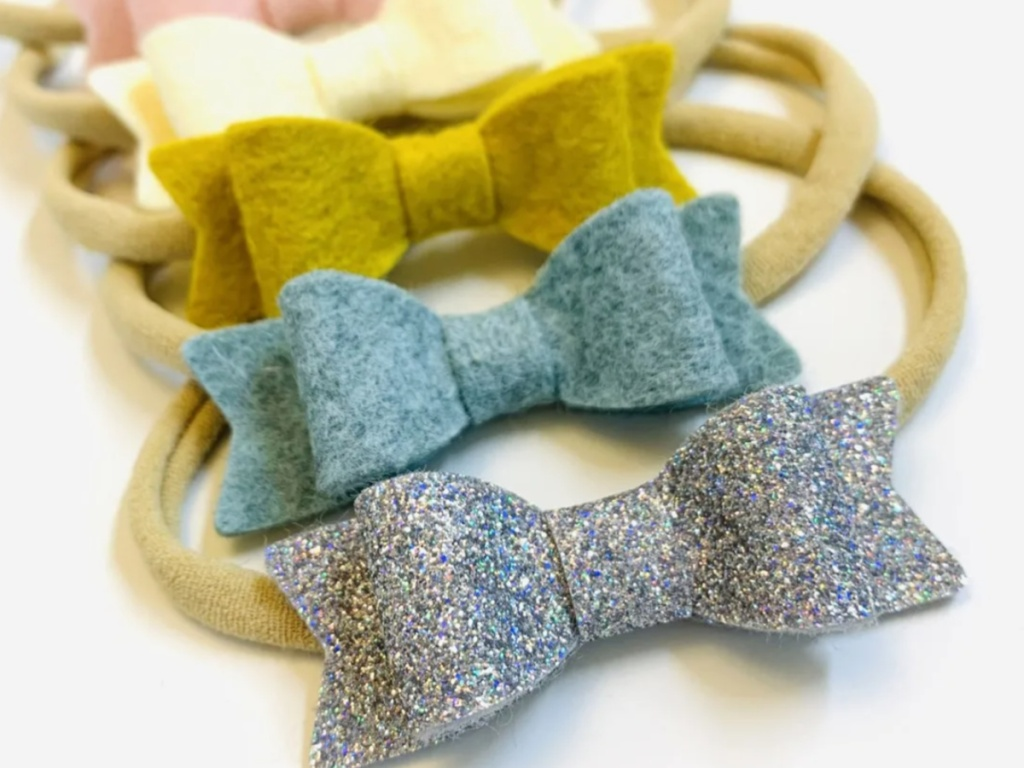 multiple baby headbands with bows