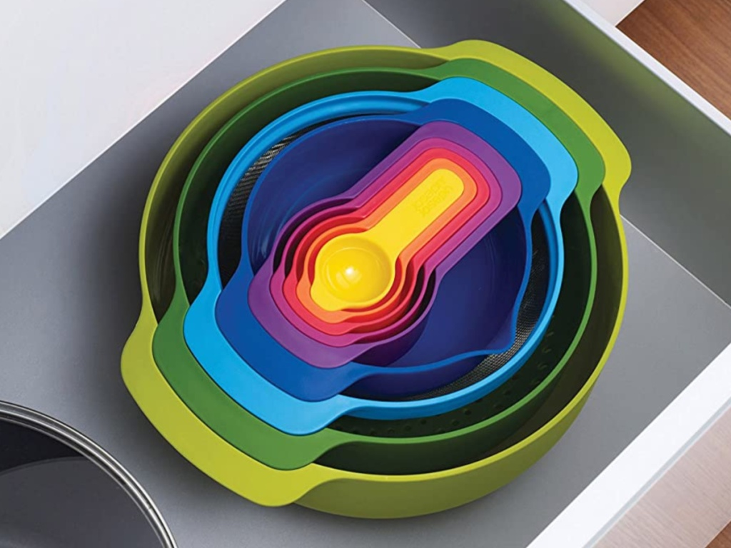 multi-colored nesting bowls in drawer