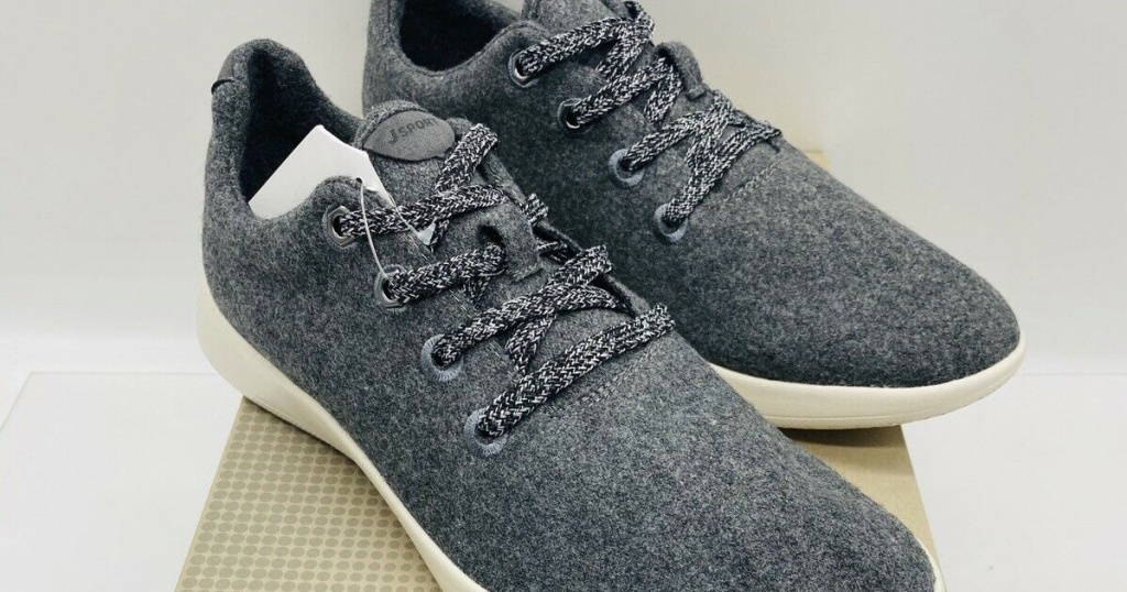 men's grey wool casual shoe on shoe box