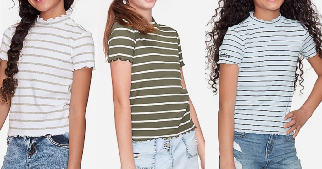 3 girls standing next to each other wearing striped short sleeve tops