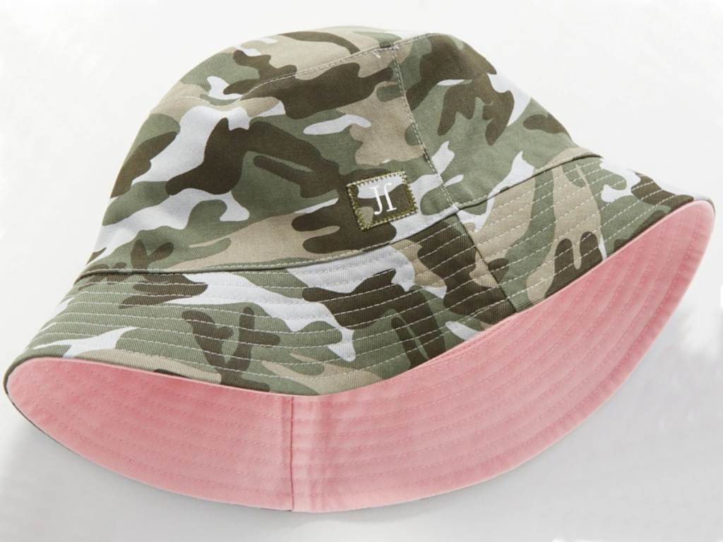 girls pink and camo bucket hat folded in half