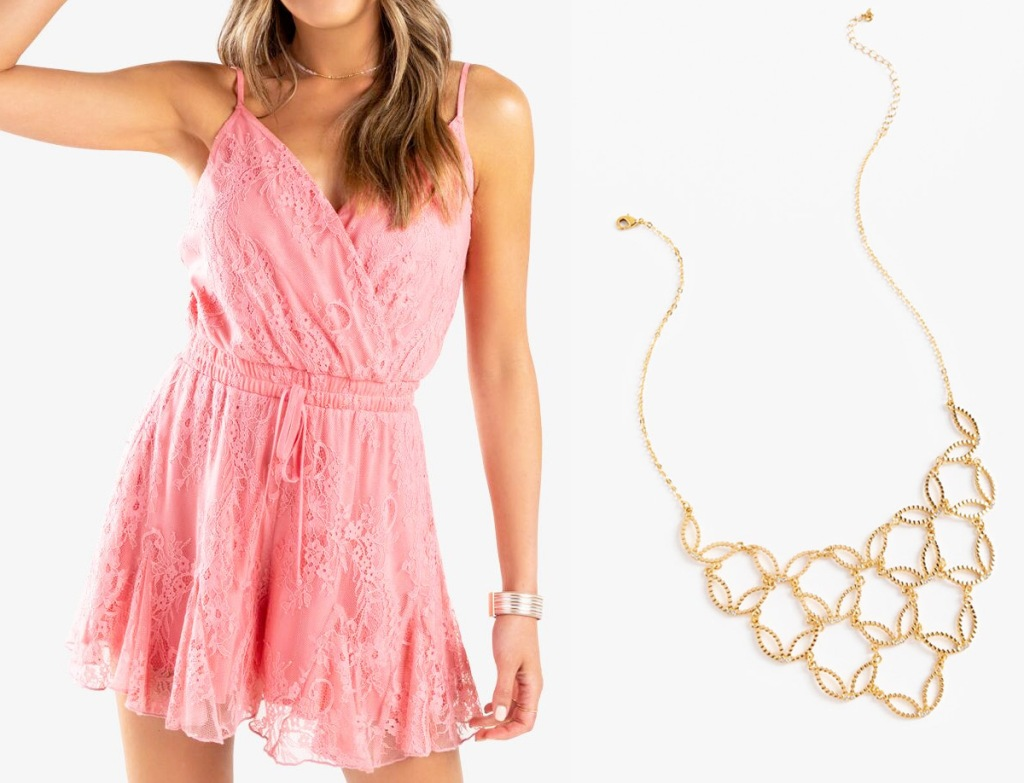 girl in pink lace romper with gold necklace next to her