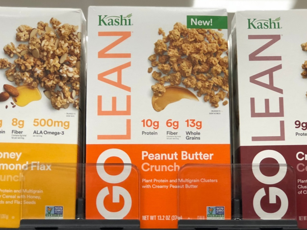 peanut butter cereal on store shelf