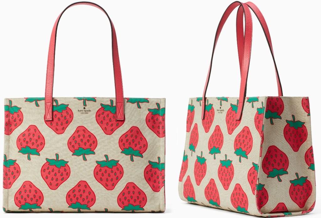 Two angles of a strawberry print handbag