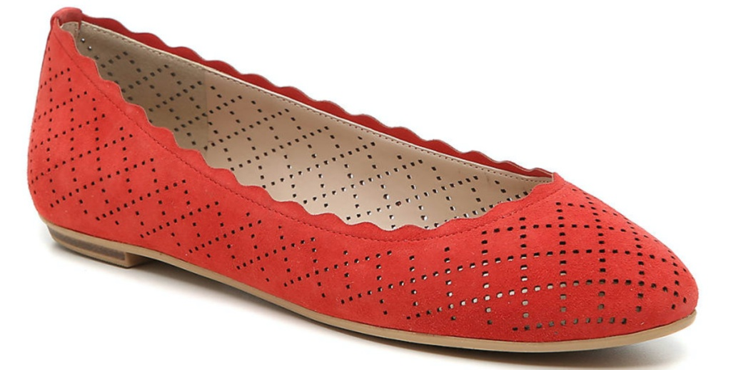 women's red perforated ballet flat