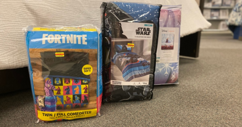 Fortnite and star wars bedding displayed in store
