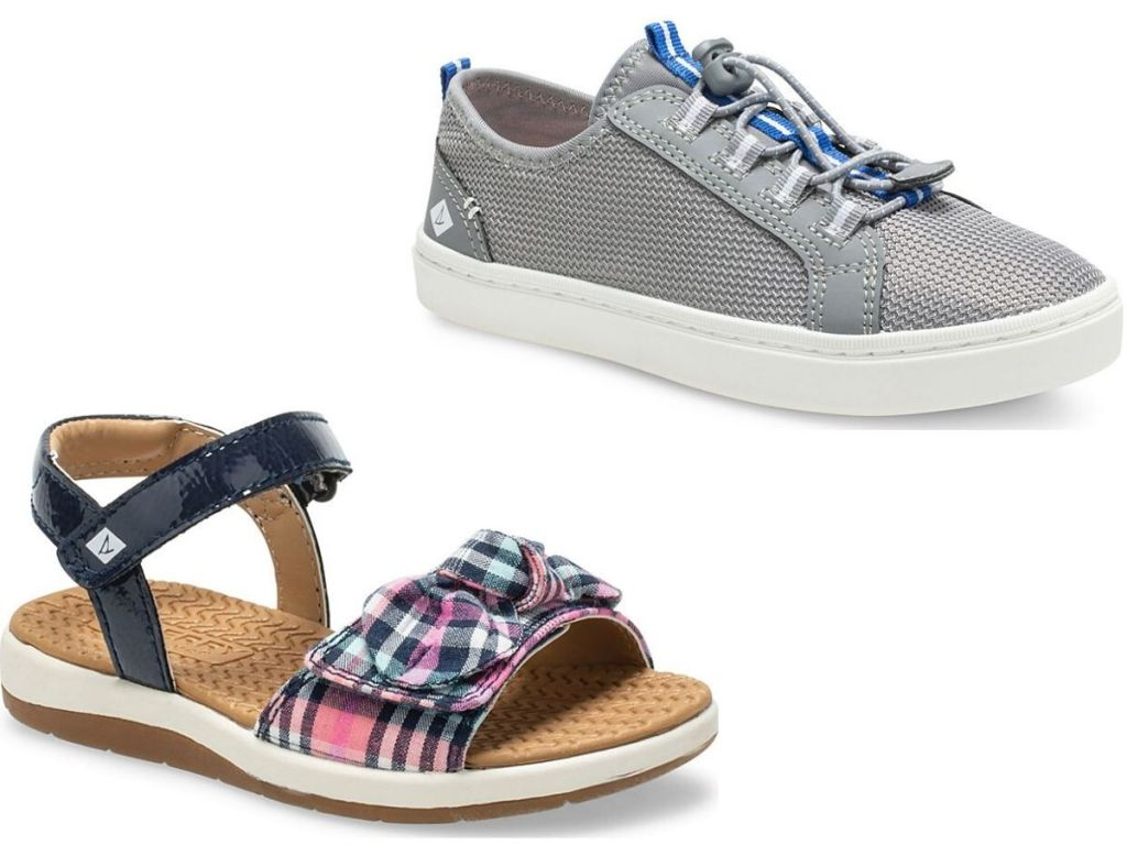 two right foot kids shoes, one sandaland one sneaker