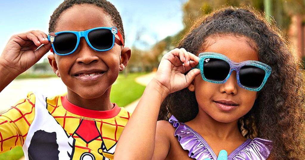 Kids wearing Disney Sunglasses