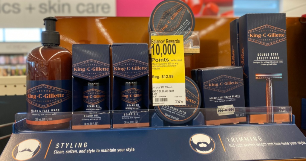 shelf of King C Gillette Products at walgreens