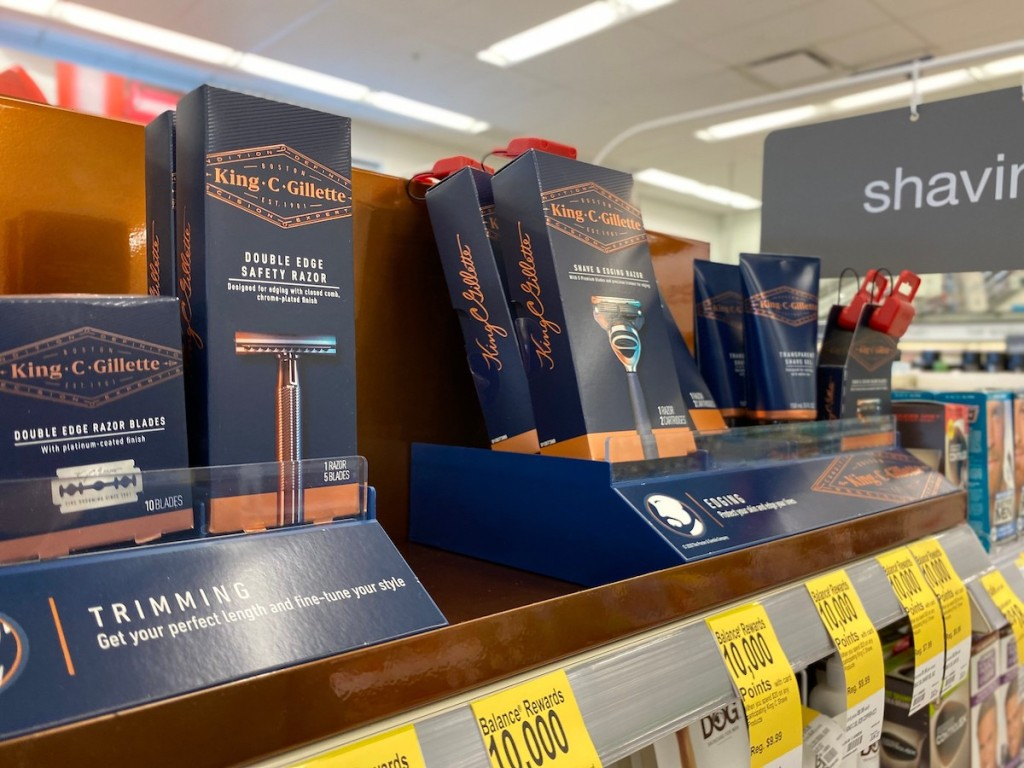 shelf of King C Gillette Razors and refills