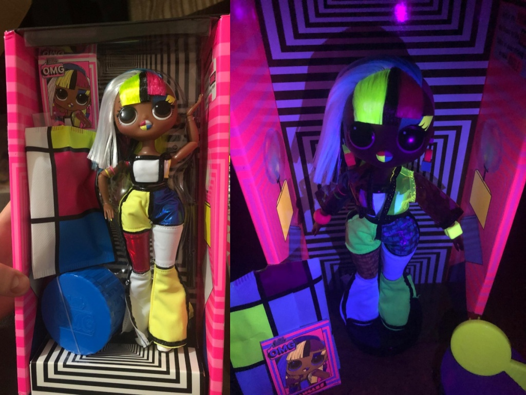 lol doll with and without black lights