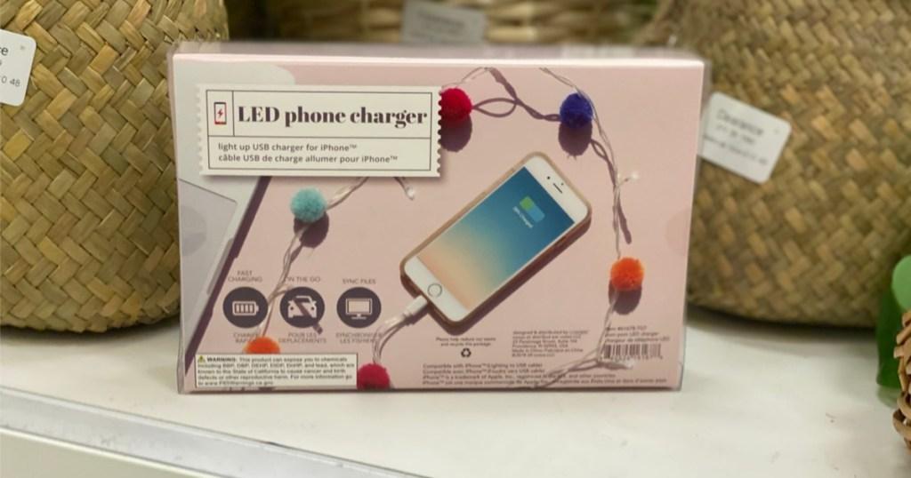 LED pom pom charger back of box