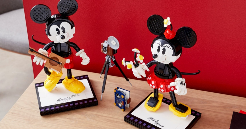mickey and minnie mouse made out of legos