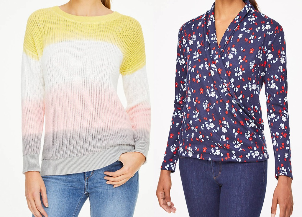 women modeling pink, yellow, and grey ombre sweater and blue floral long sleeve top