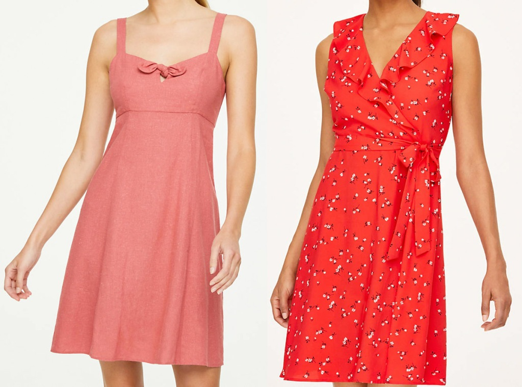 two women modeling a light red bow front dress and red floral wrap dress