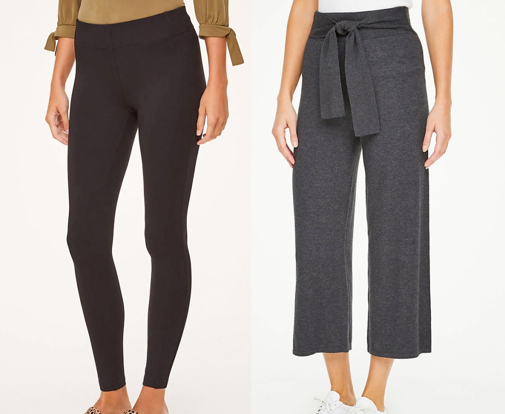 women modeling black leggings and grey pants with bow tie waist