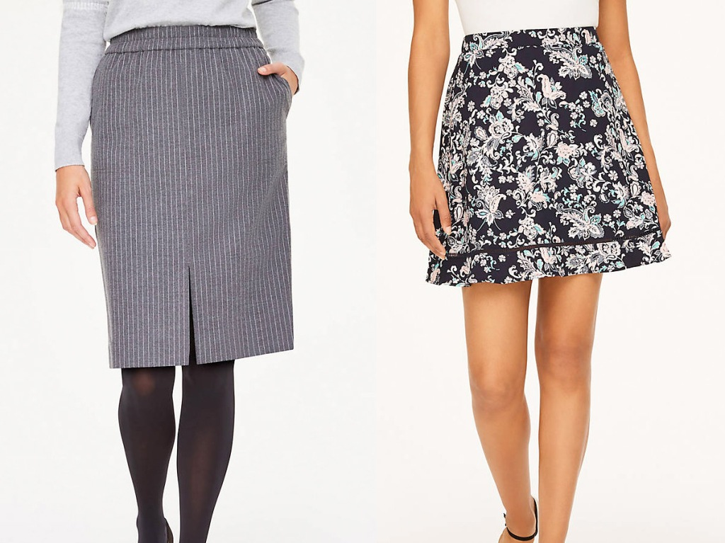 two women modeling a grey pinstripe pencil skirt and ruffle floral skirt