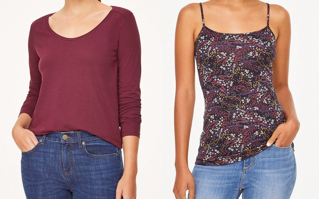 women modeling dark red long sleeve shirt and floral cami