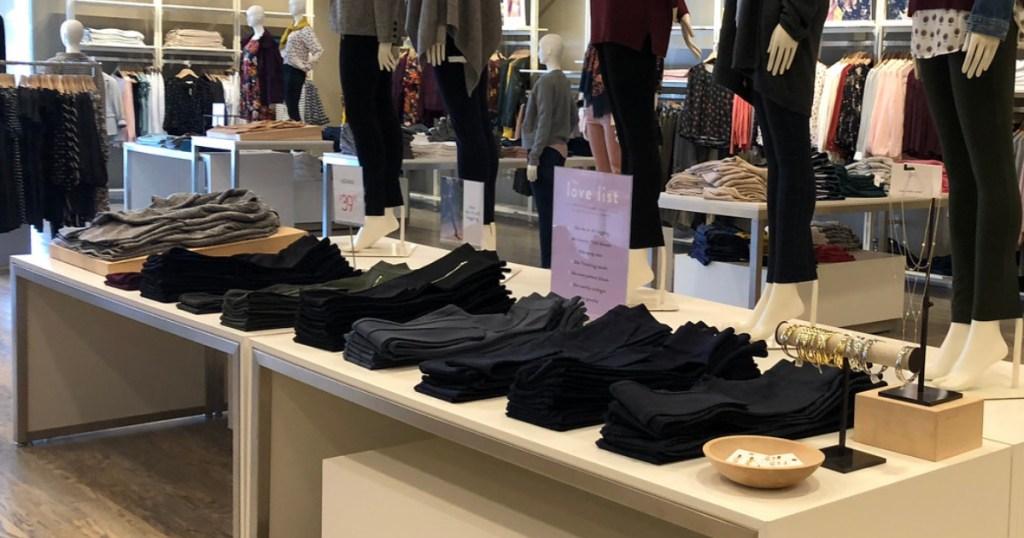 leggings on display in store