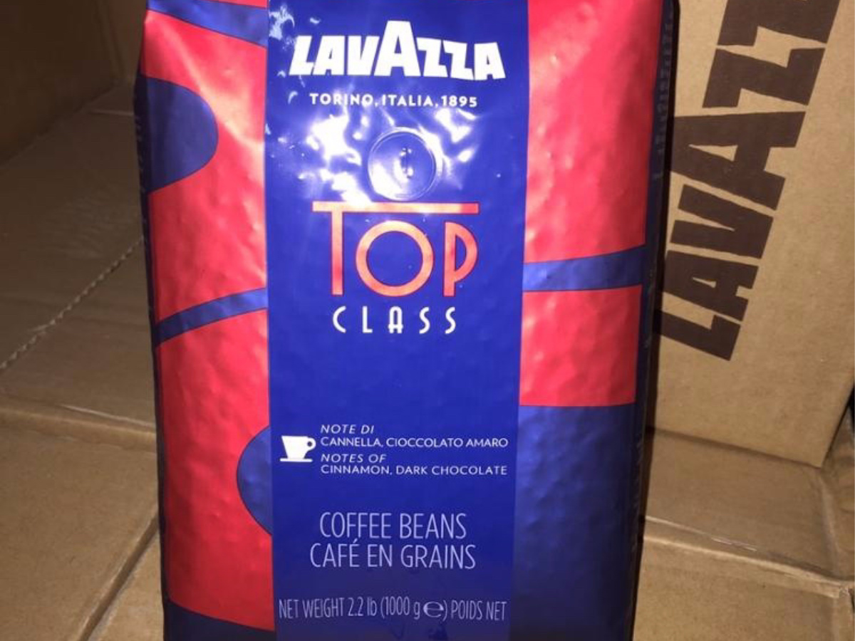 bag of coffee with box in background