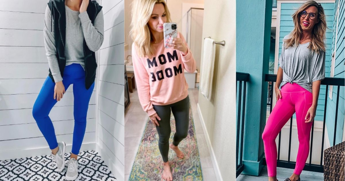 Collage of 3 women wearing high waist workout leggings with pockets