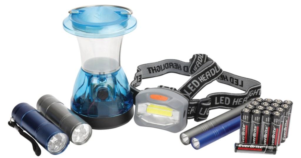 flashlight, lantern, pen light and battery set