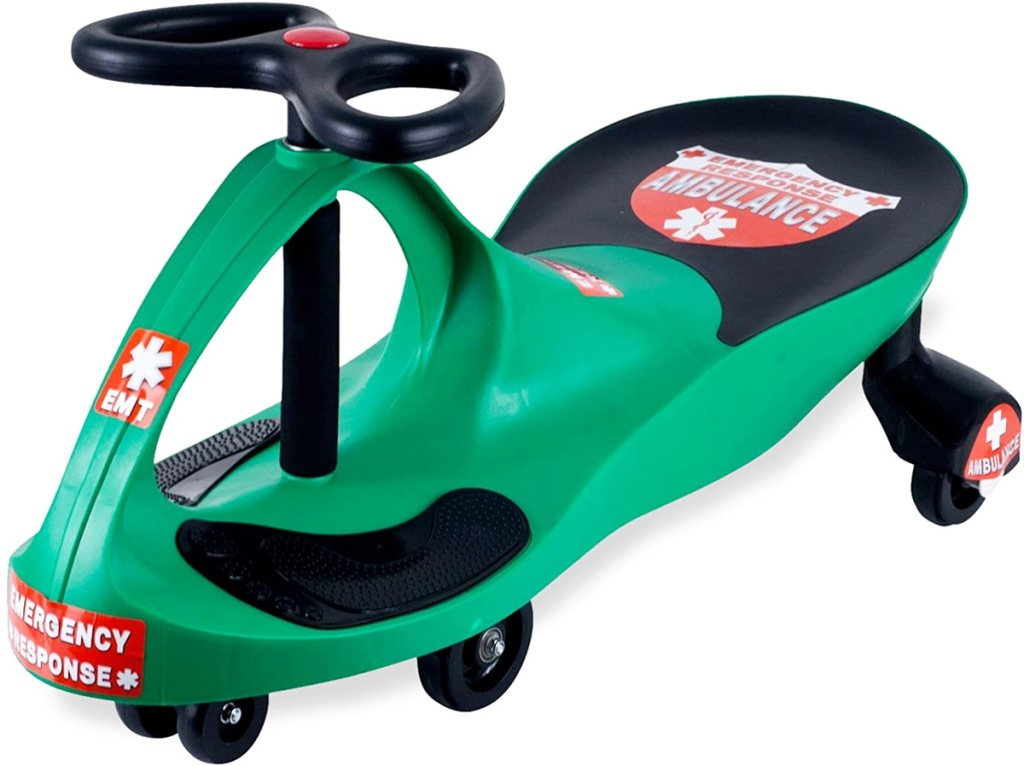 green and black kids swing car with red ambulance stickers on it