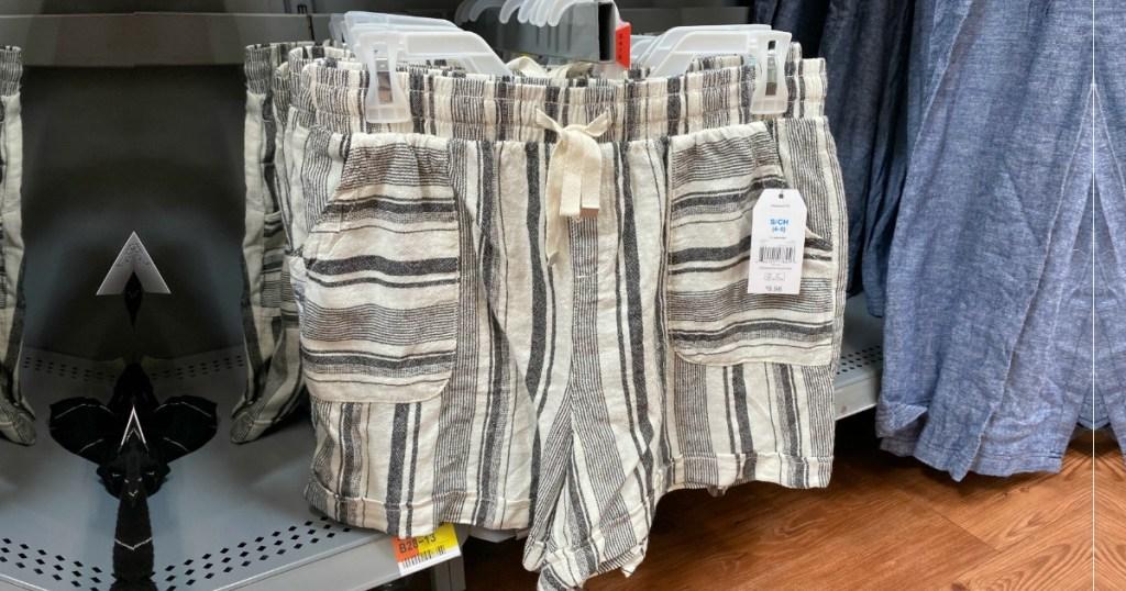 Time & tru linen striped shorts at Walmart