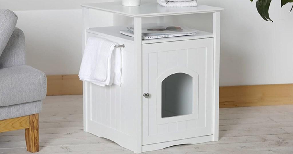 white litter box table