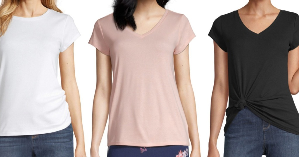 three women wearing tees